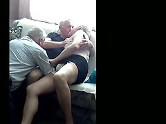 Two Old Men have Fun with old Crossdresser 1