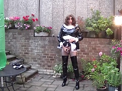 Sissy Maid Alison trying to cum with a cock cage on