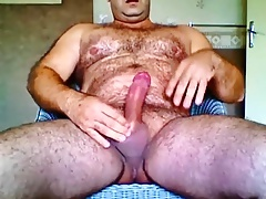 Bear Hairy solo masturbate cum