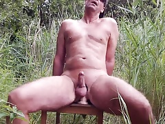 German outdoor anal dildo fuck