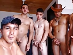 1 Gay & 5 Str8 Handsome Colombian Boys Fuck 1st Time On Cam