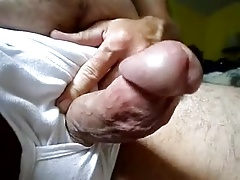 Curved small 5 inch  thick dick erection out of underwear
