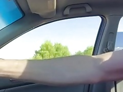 He wanks and drives car