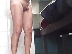 Caught - Handsome daddy in the locker room (uncut cock)