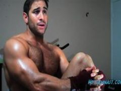 Thick college cumshot with hairy muscle stud!