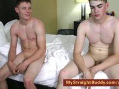 Naked buddies smoke, wrestle and jerk off