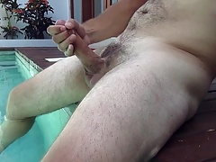 Cumshot in the Pool