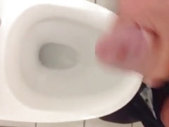 My cock cums in the office washroom