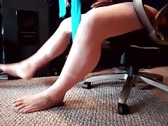 Crossdressing trying on new stockings (Leg and Foot Fetish)
