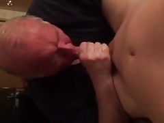Old man sucks young hard cock