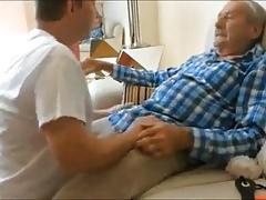 Grandpa enjoy blowjob by young man