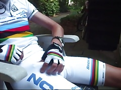 Love the nipple play and his load in the white bib-shorts
