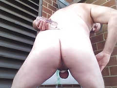 JoeyD Outside new Black Dildo JUICY Anal 2