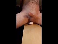 Nude Hands free cum dripping dildo ride
