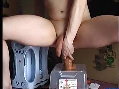 Sexy CD riding on big dildo