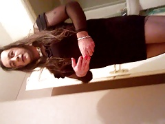 Valentinne crossdresser black dress sucking