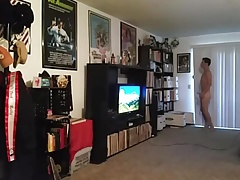 Exhibitionist naked in living room