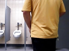 Masturbating in a public bathroom