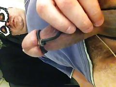 estim cumshot jism running down shaft and shaved scrotum