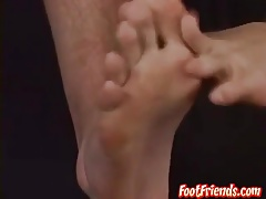 Two horny hairy hunks in a sexy cum spilling feet action