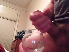 Getting my cock primed for cumming in glass(part 2).