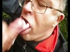 A cum sucker in the woods