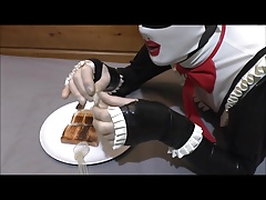Slutty maid nicole eats her own pre cum on toast