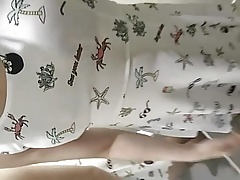 Asian CD Stephy in white dress and denim skirt