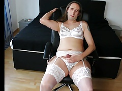 White lingerie wanking and cum