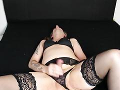 wanking in lingerie
