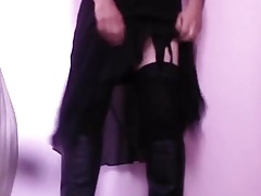 Lifting my skirt in my boots.3gp