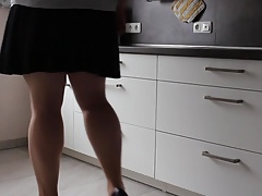 Crossdresser teasing in 20den sheer pantyhose