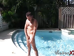 Nasty hunk fingers his ass while jerking off his hard cock