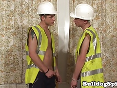 Construction lad analized with big hard cock