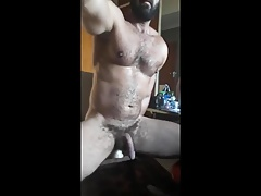 Daddy rides dildo
