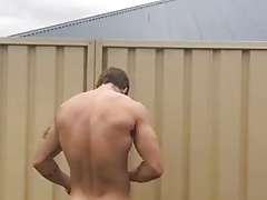 He strips outside
