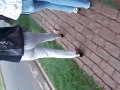 Brunette in street