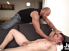 Strong daddy Tomm manhandles young jock Peter One raw
