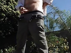Standing outside and jerking off in the sun