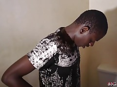 Muscular Young African Shower Jacking