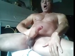 fit dad has jerking his big cock