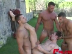 Kinky guys having fun outdoors