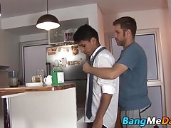 Latino twink Alejo sprays hot cum while being raw banged